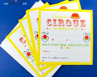 Circus birthday invitations