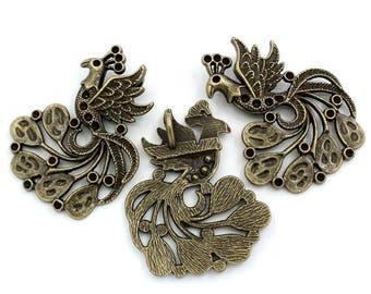 1 metal Peacock pendant bronze crimp