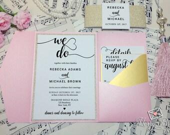 Blush Pink and Gold Wedding Invitation, Gold glitter Wedding, Blush Pink Pocketfold, Calligraphy,Gold Wedding, Pink Wedding Invitation, #C25