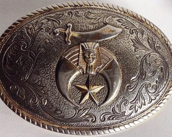 Silver Belt Buckle, Shriner's Belt Buckle, Vintage Belt  Buckle, Large  Belt Buckle, Club Belt Buckle For Him , Oval Metal  Belt Buckle,