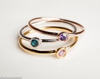 Personalized Stacking Rings - Stacking Ring Set - Rose Gold Stacking Rings - Silver Stacking Rings - Thin Ring - Birthstone Stacking Ring