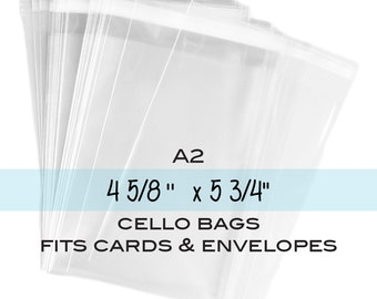 "100 Clear Resealable A2 Card Envelopes, Clear Polypropylene Bags, Clear A2 Cello Bags. 4-5/8"" x 5-3/4"""