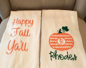 Fall/personalized flour sack towels