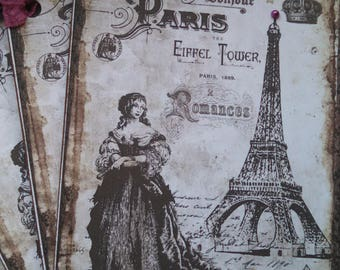 NEW french market marie antoinette eiffel tower tags set of 4