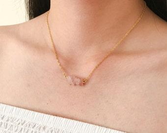Rose Quartz Dainty Necklace, Delicate Gemstone Pink Quartz Necklace, Dainty Rose Stone, Bridesmaid Gift, Bohemian Jewelry, Everyday Necklace