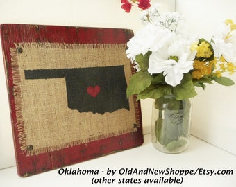 OKLAHOMA, Burlap Rustic State Sign, red or other color, ranch decor, family farm, 12 x 12 inch sign, shabby chic style, cowboy, United State