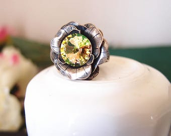Swarovski multicolor crystal Victorian rose ring-Aged brass-adjustable--edgy chic- statement