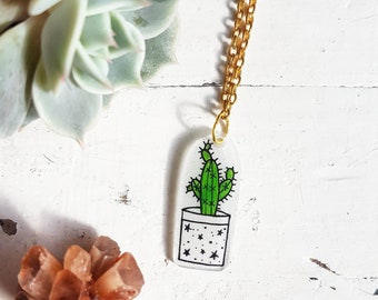 Cactus Necklace // Cactus Jewellery // Succulent Necklace // Succulent Jewellery // Plastic Necklace // Plastic Jewellery