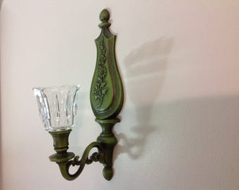 Pair of Vintage Sconces Olive Green Sconces by Dart 1966 Two Matching Sconces with Votives