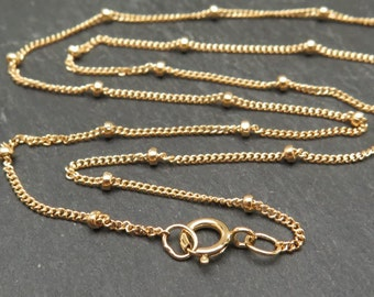 18 Inch 14K Gold Filled Satellite Chain Necklace with Spring Clasp