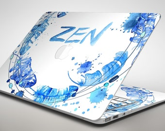 Abstract Watercolor Blue Feather Circle - Apple MacBook Air or Pro Skin Decal Kit (All Versions Available)