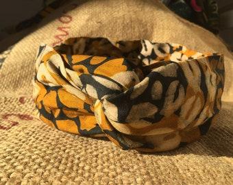Headband P' little trickster Okene - orange patterns cowrie Wax black