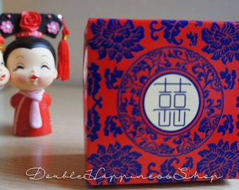 Double Happiness Blue Red Wedding Favor Gift Box with Lid Foldable DIY (Qty 100) [B3]