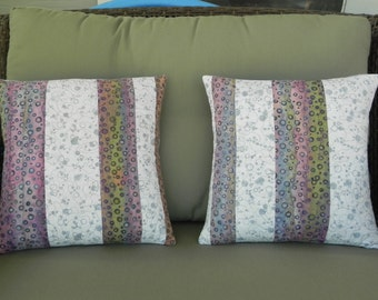 Bubble Striped Pair of Quilted Pillow Covers
