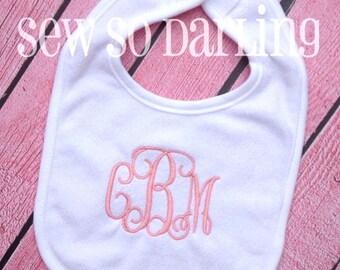 Monogrammed Bib - Baby Girl Monogram Bib - Monogram baby bib - baby gift - Baby Girl Bib - 3 Initials Bib - baby shower gift for girls
