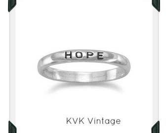 "Oxidized ""Hope"" Band - Inspirational Ring, Stamped Ring"
