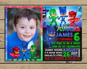PJ Masks Invitation * pj Masks Birthday Invite With Photo * pj Masks  Birthday Party Chalkboard Invitations * Personalized * YOU PRINT