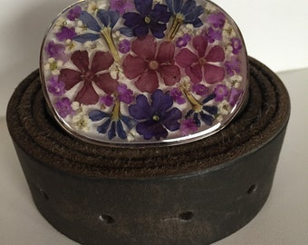 110cm belt in leather and buckle with real flowers