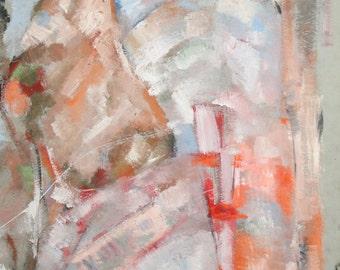 Expressionist landscape gouache painting