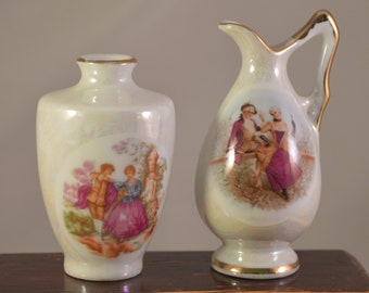 Vintage porcelain vases miniature set..2 pieces...made in japan
