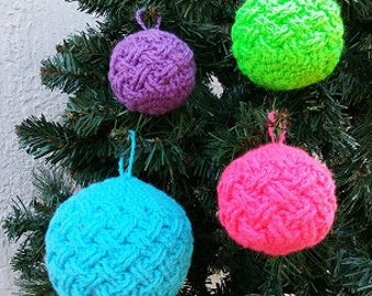Neon Themed Christmas, Celtic Weave Bauble Ornament, Crocheted Ornament, Handmade Ornament, Small Bauble Ornament, Custom Made Ornament