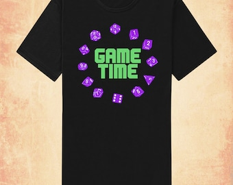 Game Time adult men's/unisex t-shirt inspired by Dungeons & Dragons and RPGs