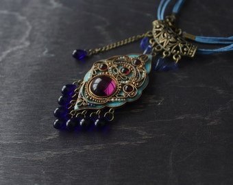 Blue boho ethnic pendant, tibetan polymerclay necklace, Indian bohemian necklace, boho tribal filigree necklace, boho filigree pendant