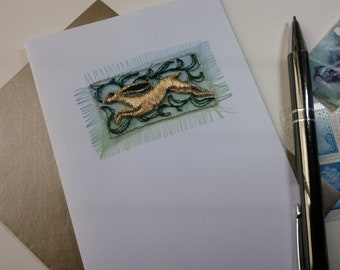 HARE, Greetings card, Embroidered, Free UK postage, Textile onto paper, Blank for your own greeting.