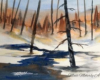 Original Watercolor Winter Stream Scene