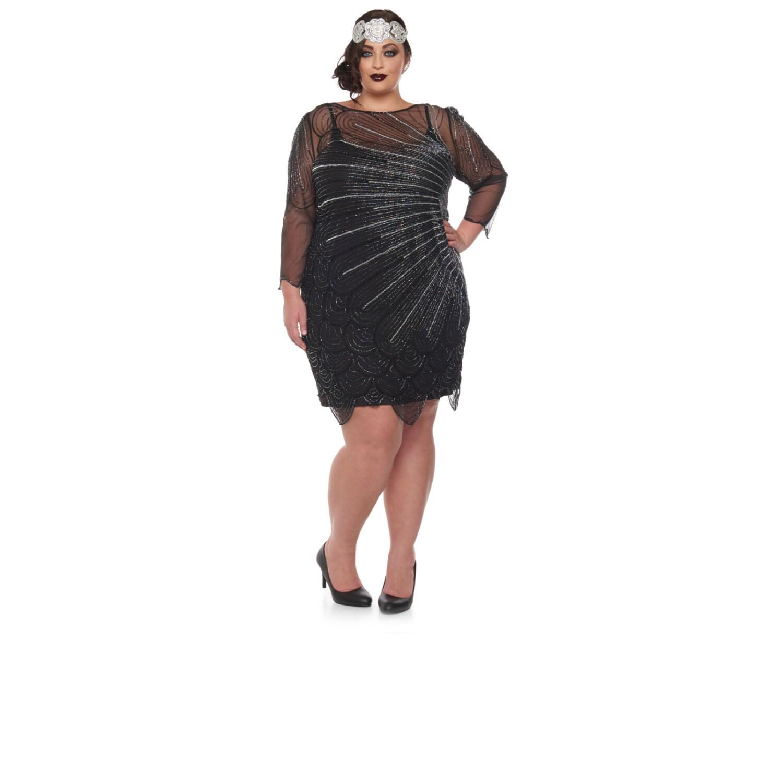 Plus Größe Catherine Black Silber Flapper Kleid mit Ärmeln