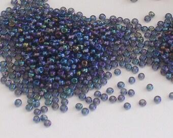 Black Diamond AB Glass Seed Beads Size 11 // Gray Aurora Borealis Seed Beads 11/0