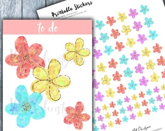 Glitter Floral Printable Planner Stickers,DIY stickers,Spring Floral,Hand Drawn Stickers,Cute Stickers,Kawaii,Erin Condren,Cut File, Pastel