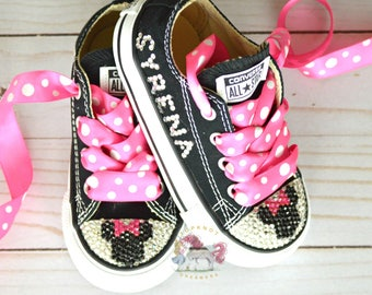 Minnie Mouse Toddler Converse Bling Shoes, Hot Pink Disney Inspired Rhinestone Converse, Personalized Converse, Baby and Adult Custom Bling