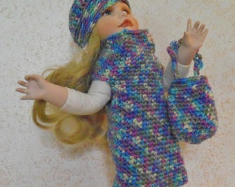 18 inch Doll Outfit, Doll Dress, Fits American Girl Doll Clothes, Doll Accessories Crochet 18 Inch Doll Dress