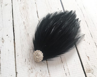 Great Gatsby Headpiece - Flapper Headpiece - Bridal Fascinator - Black Feather Hairpiece - 1920s Headpiece - Prom Hair Accessory -