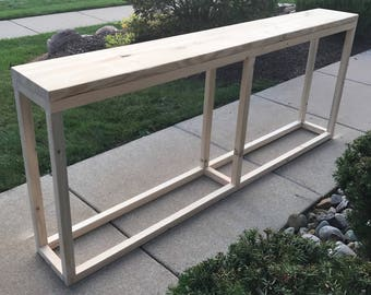 Narrow Console Table / Long Console Table / Natural Wood Console Table / Sofa Table / Behind Sofa Table / Behind Couch Table