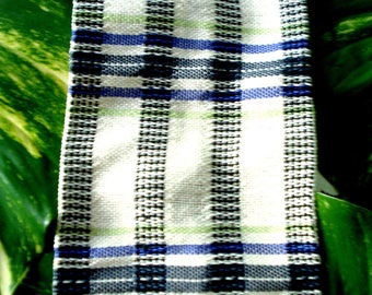 Kitchen towel,  cotton, hand woven, coal grey and creamy white, accented with lavender and lime