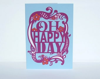 Engagement Card, Blank Announcement Greeting Card, Oh Happy Day, Blue Purple Orange Birthday Card