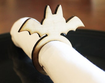 Bat Wood Napkin Rings, Halloween, Halloween Wedding, Laser Cut Set of 4, 8, 12