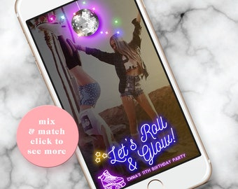 Roller Skate Snapchat Filter, Snapchat Filter Birthday, Rollerskating Party, Rollerskate, Skating Party, Neon Skate, Disco ball, Skate Party