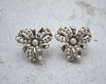 1960s Trifari Pearl Bow Clip Earrings
