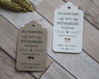 Personalised Rustic Wedding Favour tags-Hangovers only last a day memories last forever