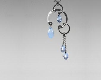 Blue Swarovski Crystal Pendant, Industrial Jewelry, Air Blue Opal Swarovski, Swarovski Crystal Necklace, Space Jewelry, Nebula v9