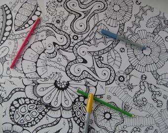 Instant Download Doodle Coloring Pages - 5 Printable Designs  - Set 8
