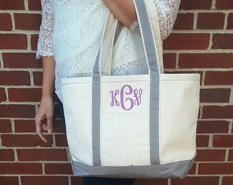 Monogrammed Zippered Top Canvas Tote with Handles : Medium