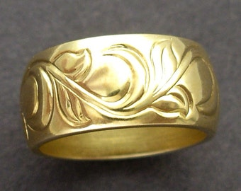 Hand Engraved Vine and Leaf 8mm Band Made to Order