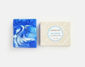 Sea Waves Soap | Decorative Blue and White Cold Process Soap