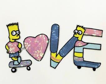 The Simpsons Patch Love Sequin Patches Paillette Words Letter Sequined Applique 019