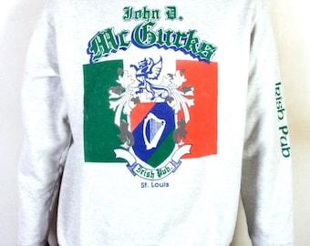 vtg 80s John D. McGurks Irish Pub Sweatshirt St. Louis MO Bar St. Pat's SZ L