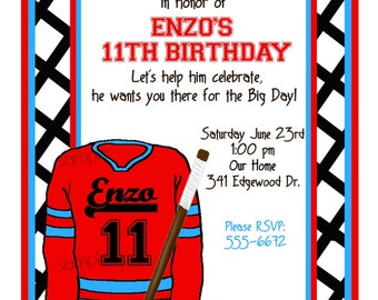 Personalized Hockey Invitations, Hockey Birthday Party, Sports party,  Hockey invites,Custom